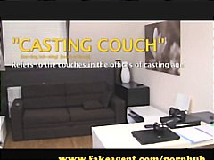 Brunette is on the casting couch and gives head before riding cock