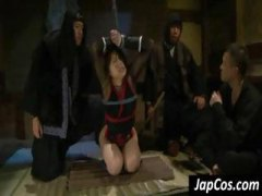 Tied up asian slave gets her mouth fucked and takes it deep