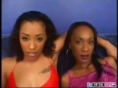 Two horny ebony milf's, angela devine and erika kane take on one big black dick