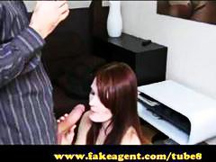 Freckle faced redheaded newbie eats his cock on the fake casting couch