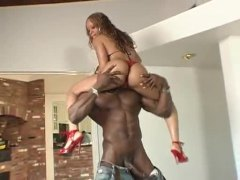 He brings black slut in from outdoors to fuck
