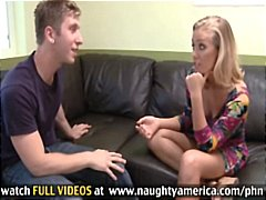 Hot blonde on the casting couch eats his cock and then bangs for creampie
