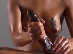 Porn: Tetovaža, Z Oljem, Naravne Prsi, Dekle Drka Tiča