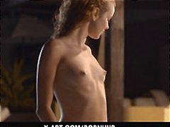 Sexy young redhead gives a hot sensual blowjob by the pool