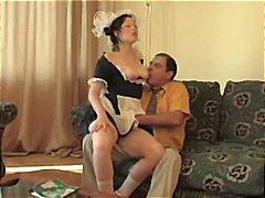 Young brunette gets her pussy eaten and fucked by an old man