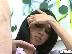 Porr: Klädd Kvinna Naken Man, Verklighet, Brunett, Onanera