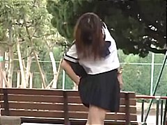 Japanese girls ass poking