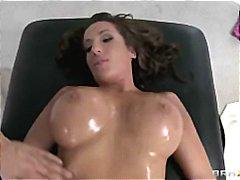 Cheating big-tit brunette slut fucked by hard dick after massage