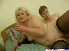 Chubby blonde mature russian gives head and then rides his cock