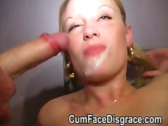 Teen takes several amateur facial cumshots from older guys
