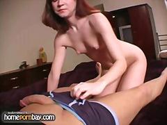 Redhead amateur gf jerking my dick 1
