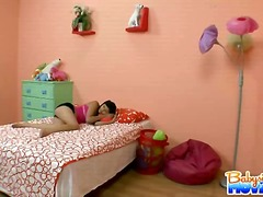 Hot brunette latina babysitter gina is caught sleeping on the bed