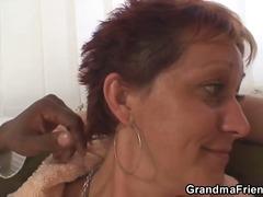 Grandma takes white and black cock