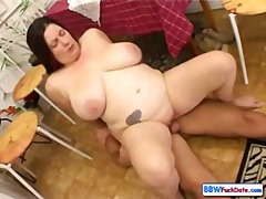 Chubby housewife gets down and dirty with her husband's schlong