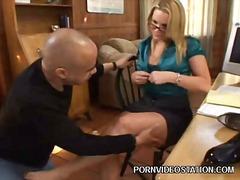 Blonde pornstar gives foot job