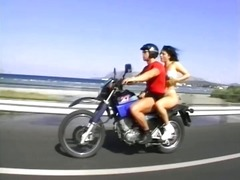 Brunette slut gets horny from their motorcycle ride and needs a fuck