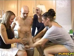 Lonely divorced female has to share the cock with her friends