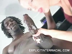 Blonde mouthing a big cock