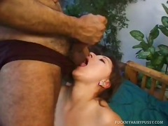 Woman plays with a dildo and gets a cock in hairy poon