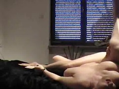 Pounds his cock in to her pussy and ass