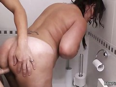 Restroom sex for a fat slut