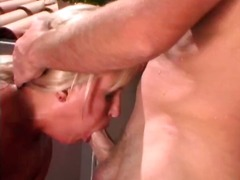 Busty blonde eats cock and gets drilled for facial outside
