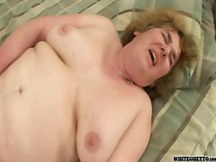Horny aged bitch getting a hard schlong inside her hairy pussy
