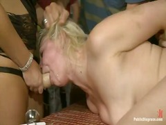 Alice frost is bound tightly, made to gag onto cock, anally fisted, ass fucked, and humiliated inside the public bar inside porno valley!!