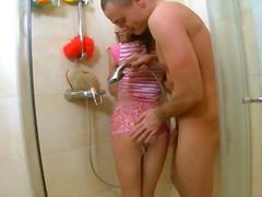 جنس: مراهقات, نيك قوى, حمام, السمراوات