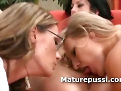 Three mature lesbians take off panties together in a mature pussy licking party