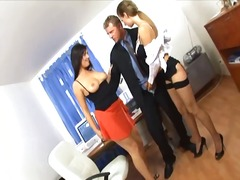Secretaries at the office have a hot threesome