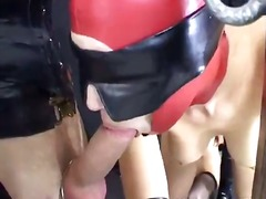 Masked serf inside stockings berki has pussy fucked by a giant cock inside the foursome
