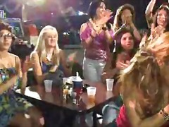 Well dressed babes sucking cocks at hen party