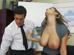 Beautiful secretary chick with awesome huge