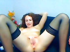 Busty babe oils her tits and plays her pussy hd