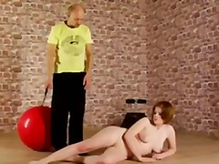 Redhead lady gets nude discipline training