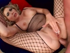 Fishnet body stocking on girl ass fucked