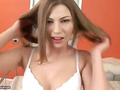 Amateur scene with a horny girlfriend bethsabe who takes off her sexy lingerie and masturbates