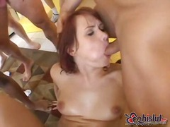 Euro hot chick in gangbang