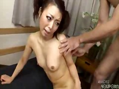 Two guys share an asian schoolgirl