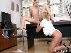 Blue angel and kathia nobili are having fun at the office in amazingly hot lesbian softcore