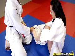 Beautiful nina lee displays her sweet waist to jordan ash at the training session