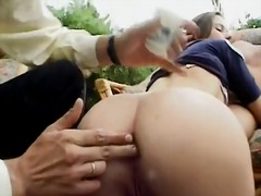 Naughty american girl enjoys four cocks in her