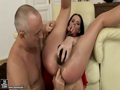 Elegant brunette sheala brill gets her favorite toys in her wet and gentle holes