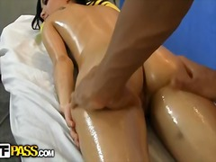 Extremely hot scene with gorgeous brunette girl massage and fucked