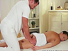 Massage rooms sexy model gets expert treatment and has deep