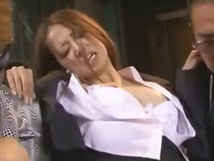 Office lady by gang getting mouth and pussy fucked in front of boyfriend in the basement