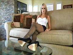 Porr: Bröst, Underkläder, Blond, Nylonstrumpor