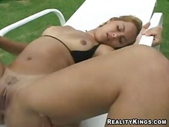 Blonde hot babe viviane moans and writhes as her wet juicy muff gets licked and banged hard