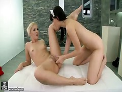 Stunning blonde babe brandy smile gets her beautiful pussy served by black haired maid leda